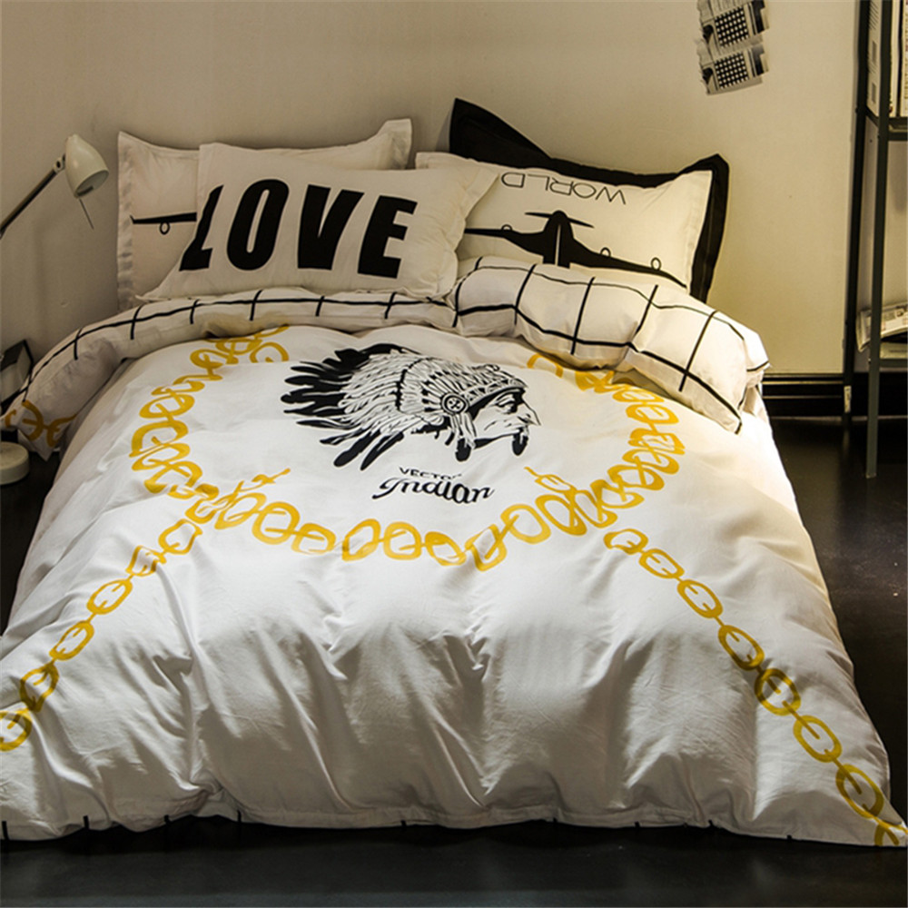 New Design White Black Plaid Yellow Tribal Quilt Cover Kids/Adult Bedding Sets 4pcs Queen/Full Size Bedroom Home Textiles Decor