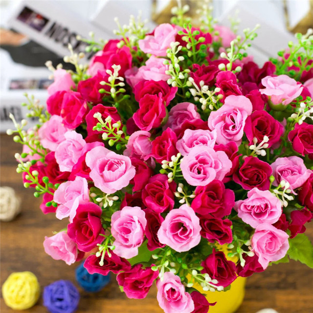 1 Bouquet 21 Heads Diamond Rose Artificial Decorative Crafts Floral ...