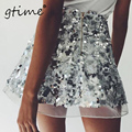 GTIME New sequin mesh mini skirts womens christmas chic high waist skirt Zipper casual short party beach skirt # ZKQS68