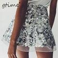 GTIME Nova malha de lantejoulas mini saias das mulheres de natal festa chique saia de cintura alta Com Zíper curto ocasional praia saia # ZKQS68