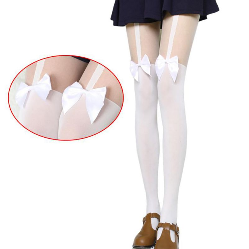 Sexy Women Tights Over Knee Double Stripe Sheer Black White Temptation Sheer Mock Suspender Patchwork Pantyhose Tights