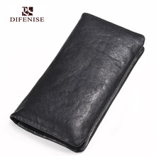 Difenise Men Wallets Vegetable tanning Leather Hasp Simple clutch Business wallets Large capacity Real first cowhide Purse
