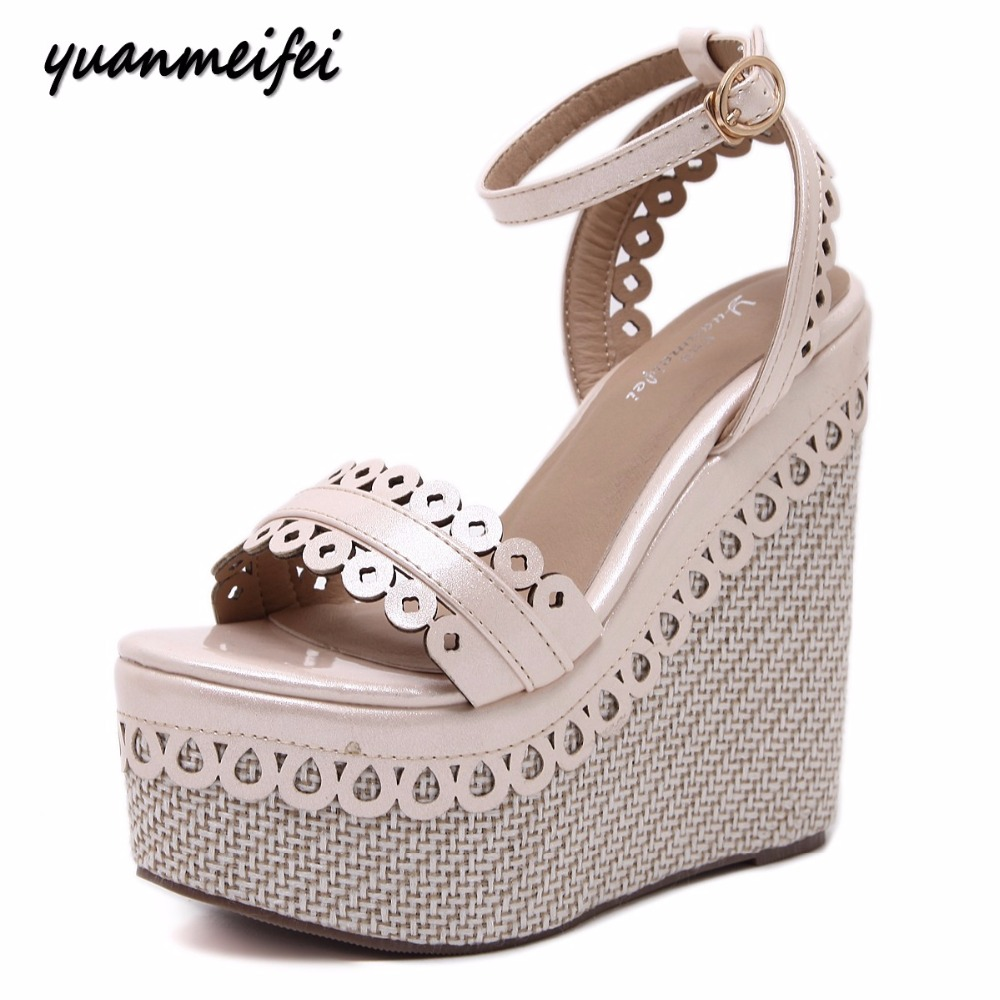 Yuanmeifei Women wedge sandals peep toe ladies high heels Thick bottom platforms lace strap buckle shoes woman casual sandals