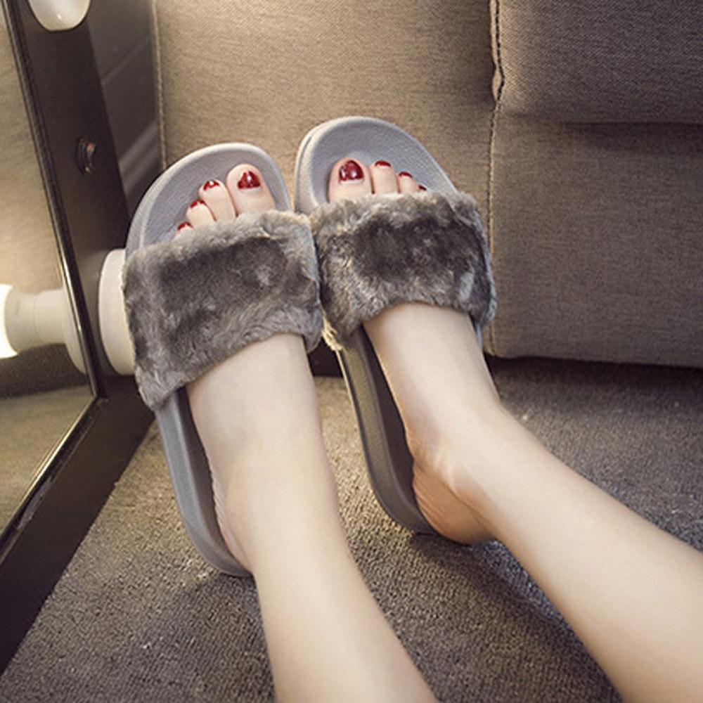 SAGACE 2018 Hot New Fashion Light High Quality Women Girls Ladies Slip On Sliders Fluffy Faux Fur Flat Slipper Flip Flop Sandal