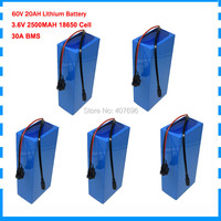 5PCS Wholesale 1500W 60v battery 20ah lithium ion 60volt battery 60 v e bike battery with 30A BMS 67.2V 2A Charger