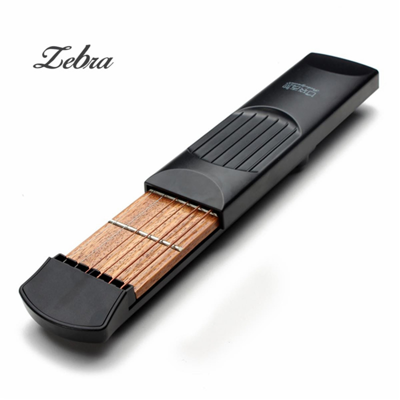 Zebra 6 String 4 Fret Portable Pockets Acoustic Guitar Practice Tool Gadget Parts with Cover Bag For Beginner +2 Picks