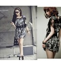 Women Sexy See-through Lace Shoulder Chiffon Lotus Sleeve Skater Mini Top Tunic Dress With Belt Party Vestido u2