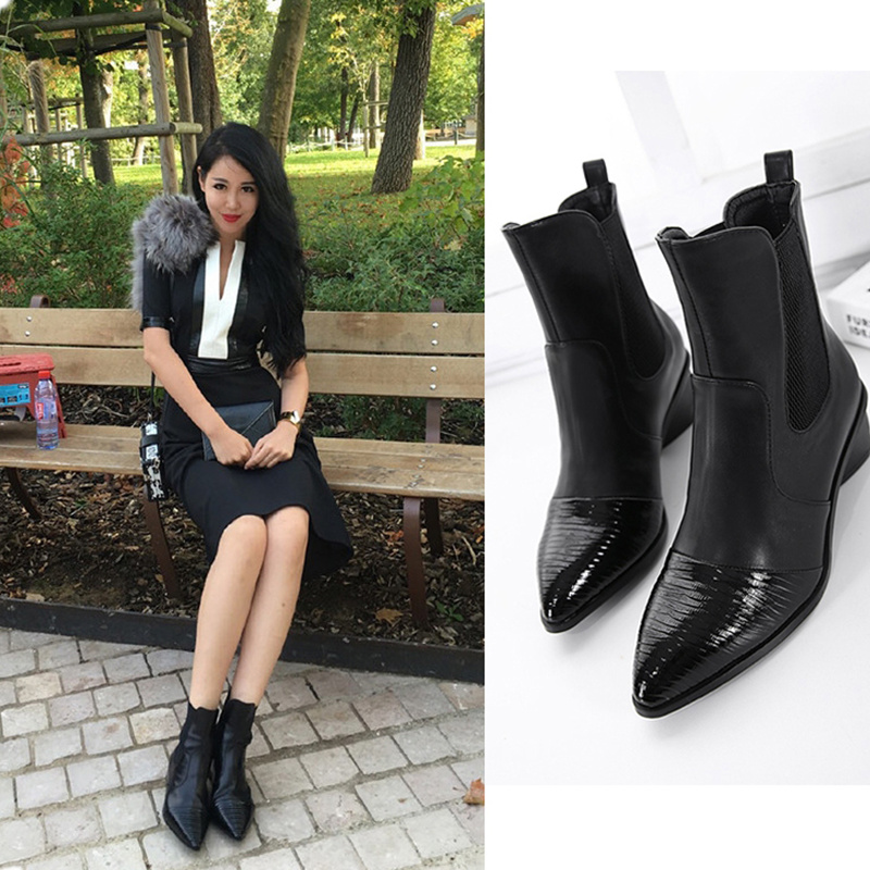 ФОТО Autumn Ankle Boots Women 2017 European PU Leather Pointed Toe Short Boots Matte Square Heels Waterproof Boots Black Big Size 40