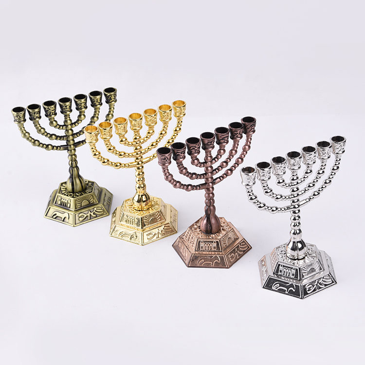 Israel judéia judeu criativo mobiliário doméstico liga 7 ramos castiçal judaico judaísmo artesanato menorah castiçal