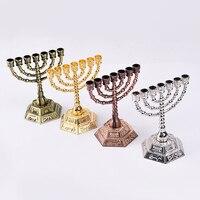 Israel judea judaió criativo casa módulo 7 galhos castiçal judaísmo judaísmo artesanato menorah vela titular