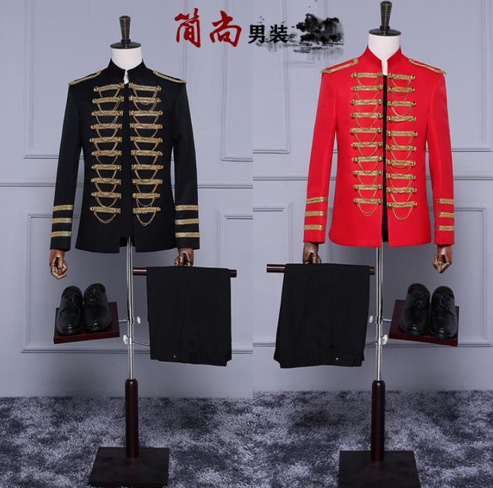 European Stand Collar Blazer Men Formal Dress Latest Coat Pant Designs Suit Men Costume Homme Double Breasted Suits For Men's