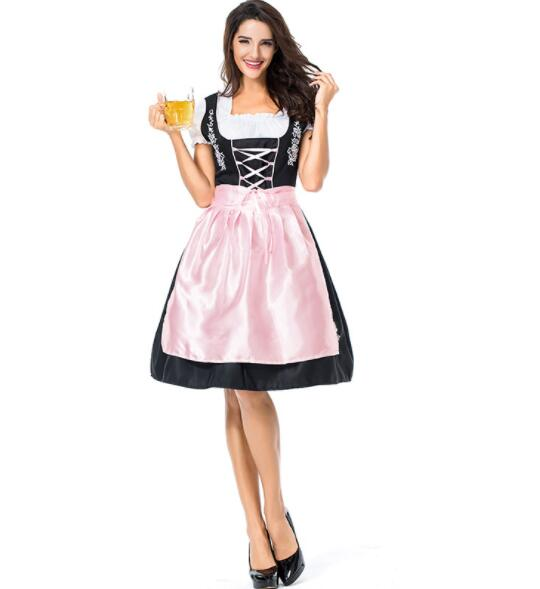 pink Germany Bavaria Oktoberfest beer festival work clothes Costume Halloween Carnival Party Cosplay Fancy shore dress A069