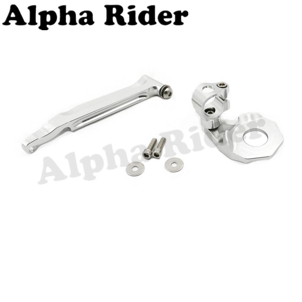 Alpha Rider Silver CNC Aluminum Direction Steering Damper Stabilizer Holder Bracket Mounting Kits for Honda CBR600RR 2005-2006 20mm cnc aluminum motor mounting holder bracket for rc motors silver