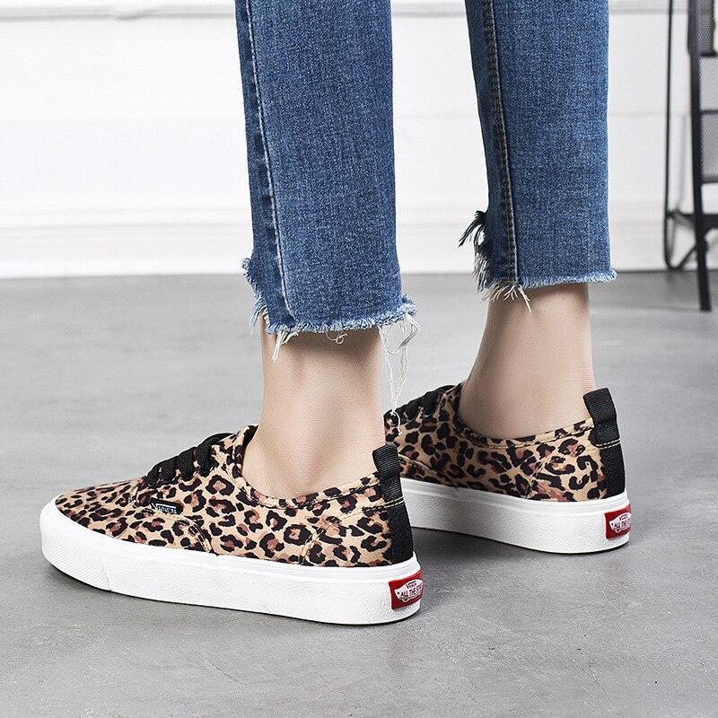 100% QualitäT Neue Frauen Leopard Leinwand Schuhe Frühjahr Herbst Low-cut Schuhe Frau Hohe Qualität Klassische Skateboard Mode Turnschuhe Förderung Gute WäRmeerhaltung