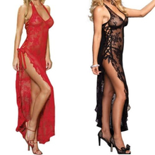 Sexy Lingerie Lace Dress Red Black Long Lace Gown S-6XL Halter and Side Split Transparent Dress