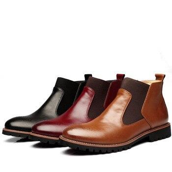 черные сапоги | Мужские ботинки челси в винтажном стиле, повседневные непромокаемые ботинки с эластичным ремешком, Нескользящие водонепроницаемые ботиль...
