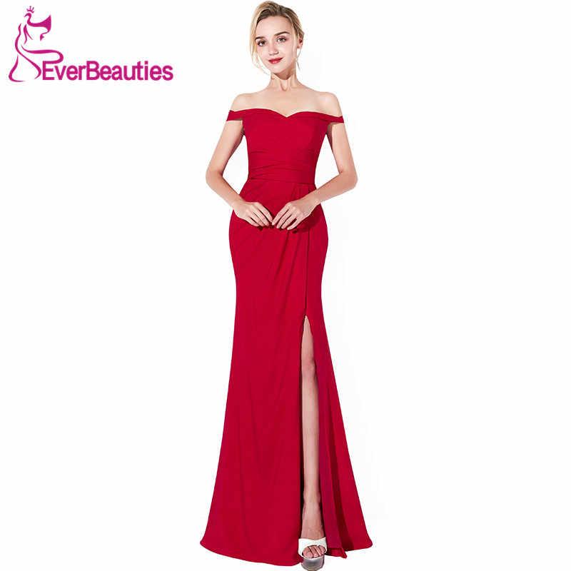 Темно-красное элегантное вечернее платье Длинные 2019 шифоновые вечерние платья с разрезом по бокам вечерние платья с вырезом лодочкой платья для выпускного вечера Robe De Soiree