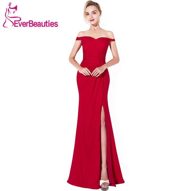 Wine Red Elegant Evening Dress Long 2019 Chiffon with Pleat Side Slit  Evening Gowns Boat Neck Prom Party Dresses Robe De Soiree bc4163b068aa