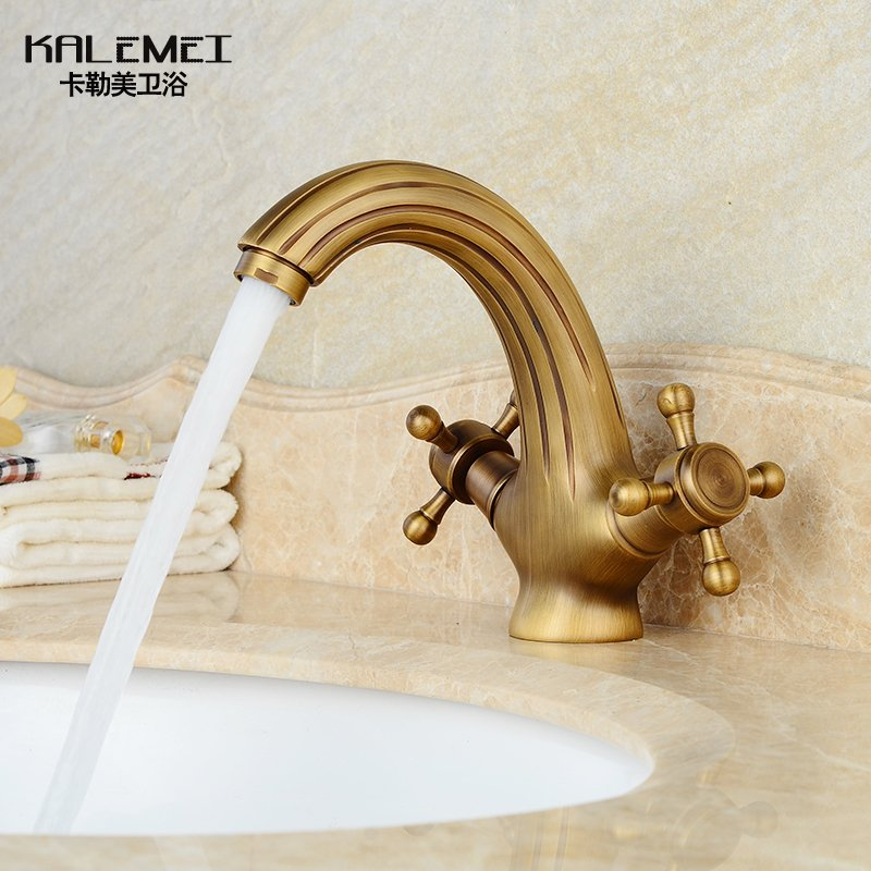 Basin Faucets Retro Brushed Sloth Modeling Bathroom Mixer Faucets Deck Mounted Brass Double Handle Cold Hot Mixer Water Tap