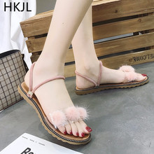 HKJL fashion Flat sandal woman outside wear 2019 new style all match MAO ball summer beach lazy person one shoe two A027