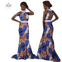 BRW Dashiki Sexy Długie Suknie 2017 Moda Afryki Suknie Dla Kobiet Cotton Wax Drukuj Suknia Kwiat Kołnierz odzież Afrykańskiego WY1273