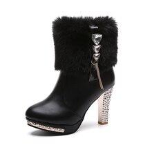 Ботинки для детей; коллекция года; сезон осень-зима; новые модные теплые короткие Ботинки martin на высоком каблуке; женские зимние ботинки; большие размеры