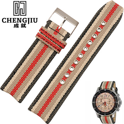 Vintage Plaid Canvas Watch Band For Burberry/london/uk 22 mm Wide Adjustable Replacement Straps Watchband Bracelets Belts