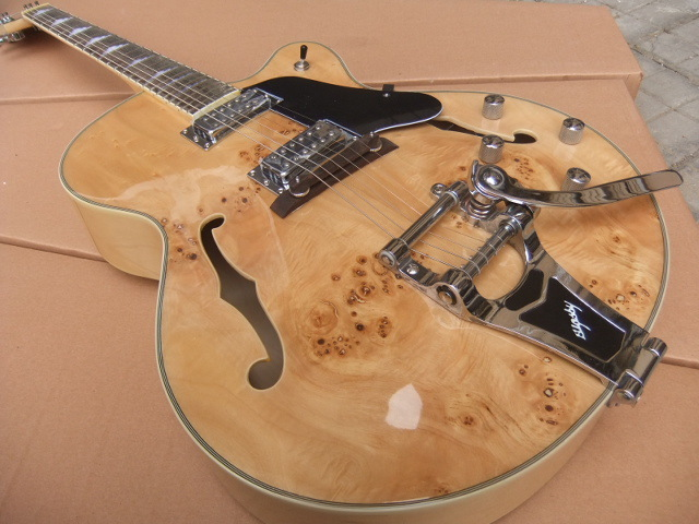 New Jazz hollow body electric Guitar Electric Guitar with 1959 Bigsby Bridge Maple Natural free shipping! ES 355 335 110422 free shipping rotten knobs tree wood archtop guitar hollow body 335 jazz electric guitar