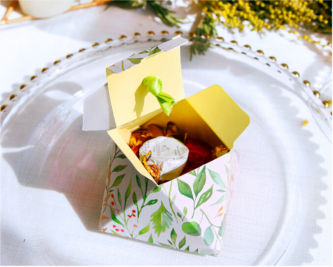 New Diamond Shape Green leaves Forest style Candy Box Wedding Favors And Gift Boxes Party Supplies thanks Gift Chocolate Package (9)