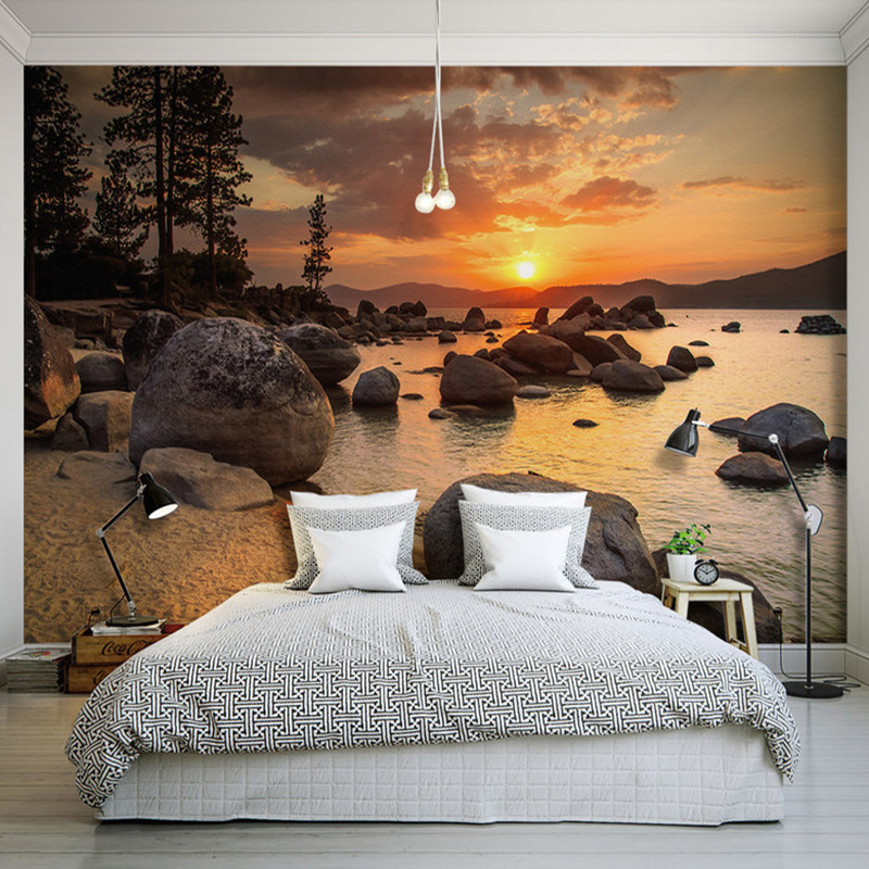 Custom 3d beautiful sunset rock seaside landscape murals for Nature wallpaper for bedroom
