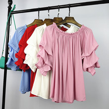 Women Summer Vintage Chiffon Ruffles Pleated Shirt Lady Boho Beach Plus Size Loose Strappy Off Shoulder Shirts Blouse Tops Blusa