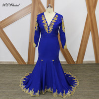 Hot Selling Royal Blue Long Sleeve Mermaid Evening Dress Gold Beads Lace Side Split Open Back Sexy Prom Gowns Robe De Soiree