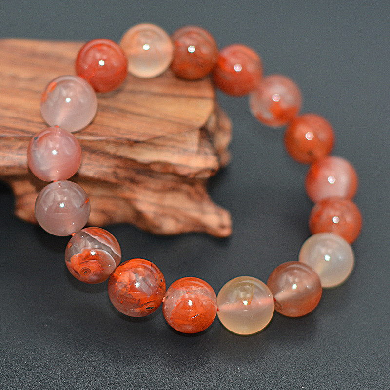 certificate Natural Red South Red Stone Silk Agate Jade Bracelet Beads Agate Bracelet Bangles Gift for Women's Jade Jewelry
