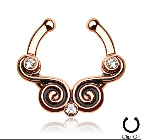 2015 12 Pcs 316l Surgical Steel Zircon Clip On Fake Septum For Clicker Daith Cartilage Tribal