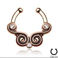 2015 12 Sztuk 316l Surgical Steel Cyrkon Klip Na Fałszywy Przegroda dla Clicker Daith Tribal Wentylator Dla Piercing Nose Ring Hoop Chrząstki