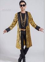 2019 Men Gold Tuxedo Jacket Stage Costumes For Singer Sequin Tuxedo Jacket Green Gold Tuxedo Blazer Gold Sequin Jacket Coat