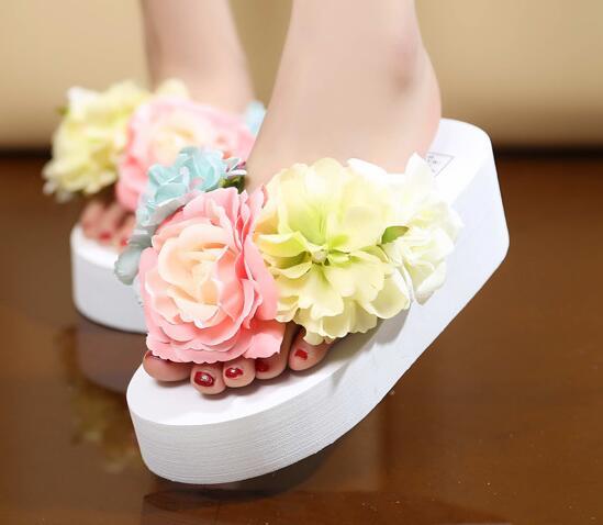 hand ROSE flower EVA outsole Bohemia high heel flower slippers women white wedding beach sandals