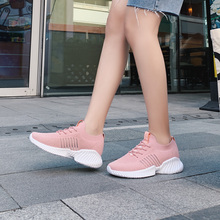 Women Casual Shoes Solid color pink Fashion Breathable Walking Mesh Lace Up Flat Shoes Sneakers Women 2019 NVX28 casual mesh and solid color design sneakers for women