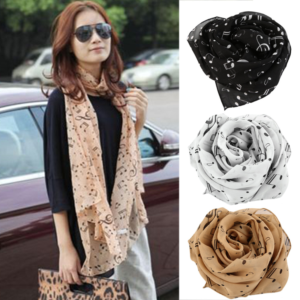 Stylish Musical Note Chiffon Scarves Women's Scarf Shawl Long Stoles Spring Muffler Infinity Scarf