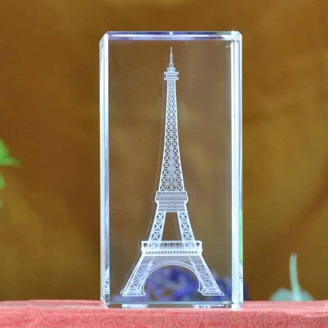 Jqj Laser Engraved Quartz Crystal Gl Eiffel Tower Paperweight Feng Shui Crystals Miniaturas Home Decor