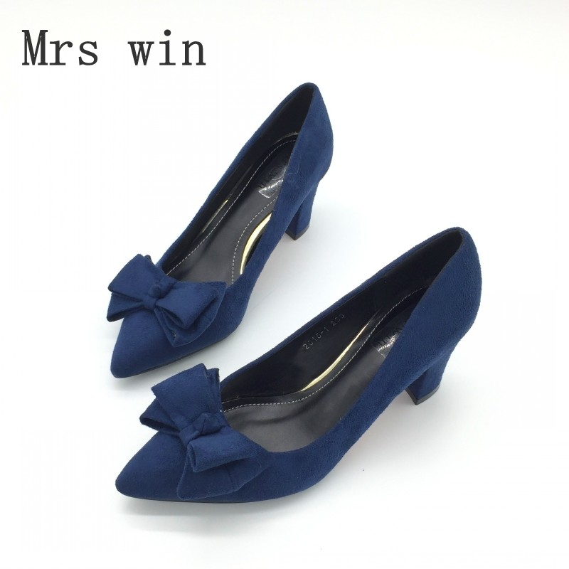 Fashion Pointed Toe Women's Pumps Spring Flock Bowtie Square Heel High Heel Shoes For Woman Sexy Ladies Single Shoes Blue Red women elegant black blue red suede silk bowtie round toe platform 3 inch high heel deep single shoes ladies pumps for woman