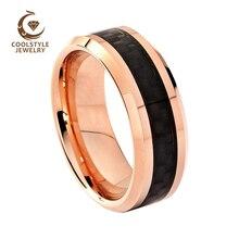 Обручальное кольцо из вольфрама для мужчин и женщин цвета розового золота с черной вставкой из углеродного волокна, удобная посадка