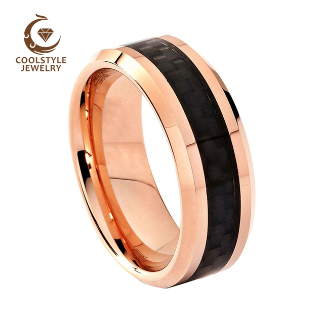 Coolstyle Jewelry Tungsten Wedding Band For Men 8mm Rose Gold Color Black Carbon Fiber Inlay Beveled