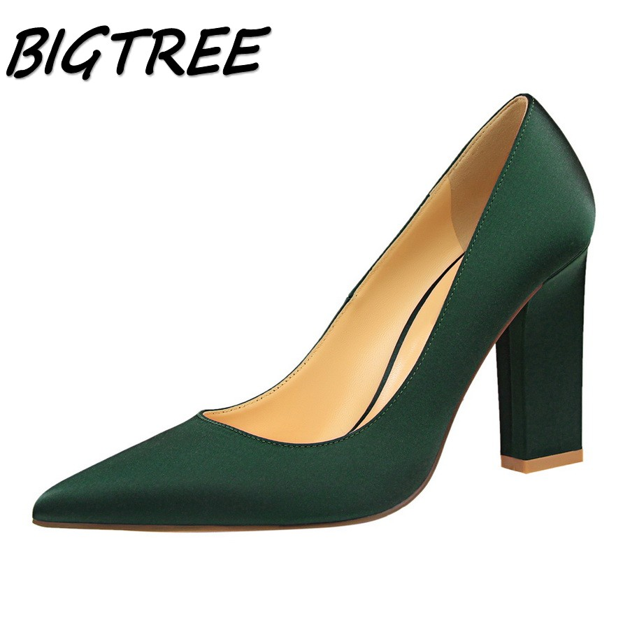 BIGTREE summer women Pointed Toe Square heel shoes woman shallow pumps ladies Sexy Party Wedding Silk High heel shoes size 34-39 esveva sexy flock thin high heel women pumps summer party pointed toe woman pumps ankle strap ladies wedding shoe size 34 43