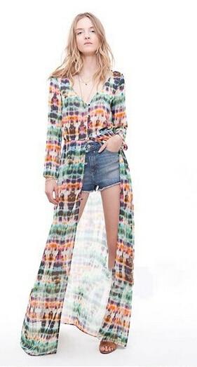 2014 Moda Sexy Hawaii Floral Longo-luva Vestido de Chiffon, mulheres Cardigan impresso Vestido de Chiffon praia Verão Vestido Longo S/M/L