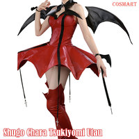 Anime Shugo Chara Tsukiyomi Utau Cosplay costume Little Devil PU leather Uniform Dress Girl for Halloween free ship