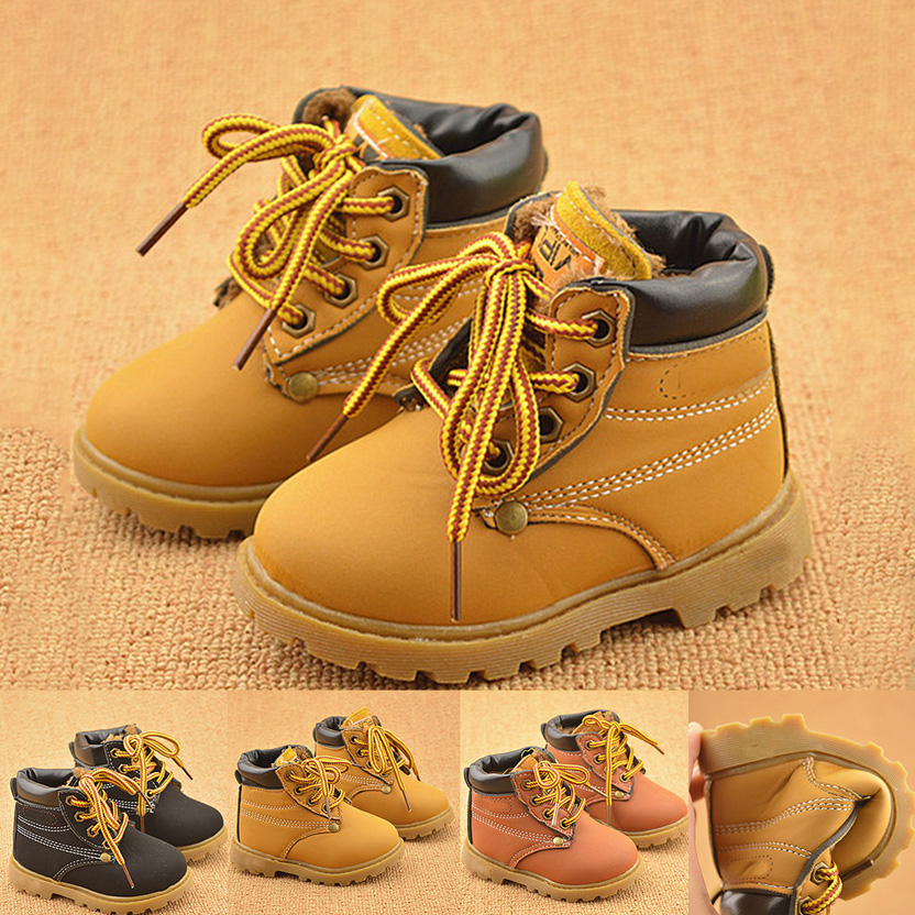 New Fashion Winter Baby Boots Boys And Girls Calzado Botas Ninas 2017 Infant Girl Winter PU Leather Boots Baby Warm Snow Boots 2016 winter new soft bottom solid color baby shoes for little boys and girls plus velvet warm baby toddler shoes free shipping