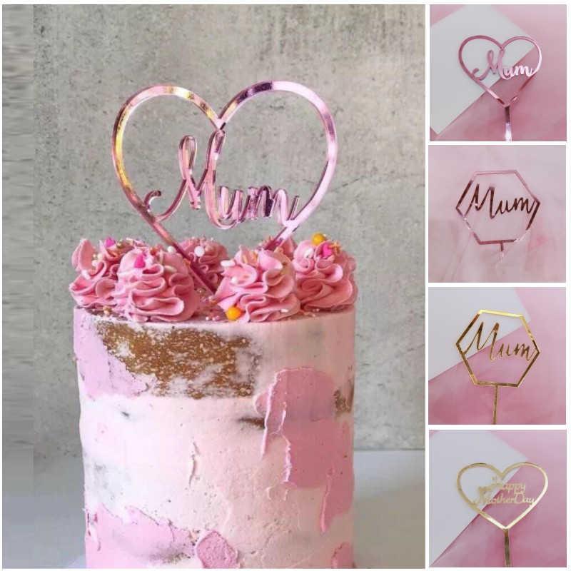 heart MUM Birthday Cake Topper Gold Glitter flower butterfly star