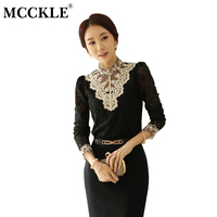 MCCKLE Women S Lace Embroidery Mesh Blouse Stand Collar Shirts 2017 Autumn Winter Patchwork Feminine Shirt