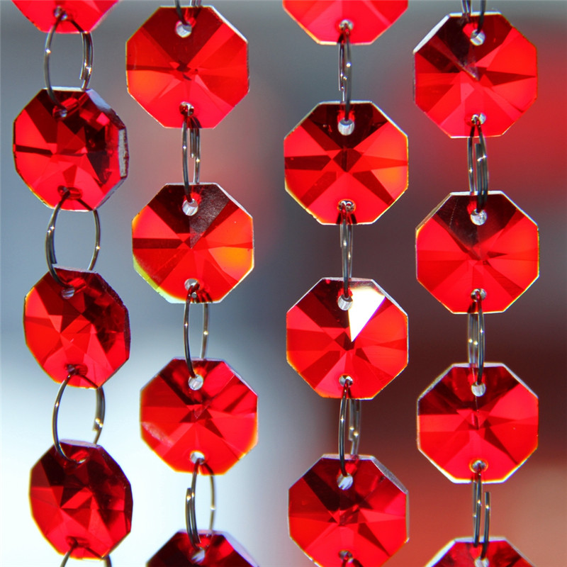 5meters For Hanging Wedding Decor Crystal Glass Red String Bead Garland Strands Chandelier Curtains Centerpiece
